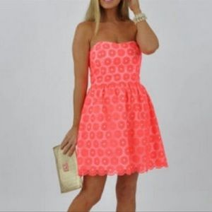 Pink flower lace Lilly Pulitzer strapless dress